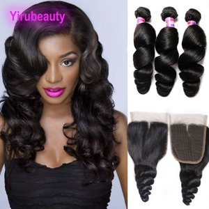 Brazilian Loose Wave Lace Closure With 3 Bundles Human Hair 4 Pieces lot Loose Wave Bundles With Lace Closure Hair Extensions