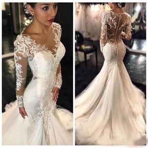 Nuovo 2020 Gorgeous Lace Mermaid Abiti da sposa Dubai African Style Arabo Petite Maniche lunghe Natural Slin Abiti da sposa Pish Bridal Plus Size