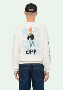 2018 Trend new letter torch free goddess oil painting printing round neck sweater men and women lovers sweatshirt