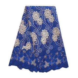 Royal Blue Neueste Afrikanische Spitze Stoff 2018 Nigerianisches Weiß Hohe Qualität Französisch Spitze Afrikanische Schnur Net Mesh Perlen Spitze Stoff