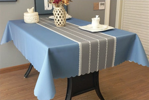 PVC Waterproof tablecloth anti-ironing and washing solid color table cloth art rectangular tea table mat simple modern tablecloth