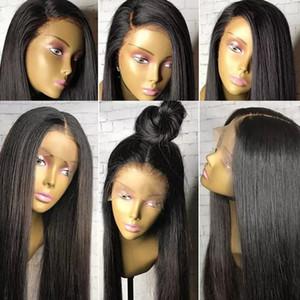 Dantel Ön Peruk 13x6 Uzun Ayrılık Preplucked Hairline 9A Sınıf Virgin Brezilyalı İnsan Saç Peruk Ipeksi Düz Siyah Kadınlar için Tam Dantel Peruk Wome