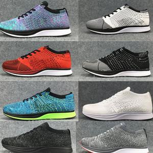 Nike Flyknit Racer 최고 품질의 도매 남성 여성 캐주얼 레이서 트레이너 Chukka 블랙 레드 블루 그레이 경량 통기성 운동화