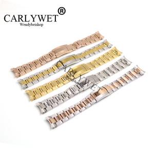 CARLYWET 20mm Altın Gümüş 316L Paslanmaz Çelik Katı Kavisli End Vidalı Bağlantılar Dağıtım Toka Izle Bilek Bandı Kayışı Bilezik