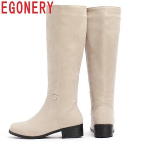 EGONERY winter new concise casual med hoof heels flock women shoes round toe zip black and apricot outside warm knee high boots