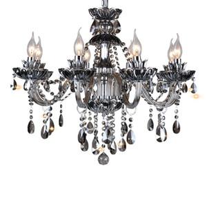 Modern Luxury Luxury Crystal Lighting Lamp in Black Fuente de luz LED E14 con pantallas Candle Chandeliers Crystal Chandeliers