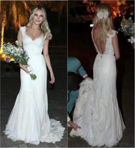 Charming Lace Mermaid 웨딩 드레스 모자 슬리브 V-neck Backless 신부 드레스 Sweep Train 플러스 사이즈 웨딩 파티 가운