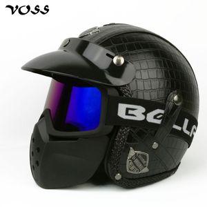 VOSS Faux cuir pour Harley Casques 3/4 Chopper Casque de moto vélo visage ouvert casque moto vintage avec masque goggle, V-085B