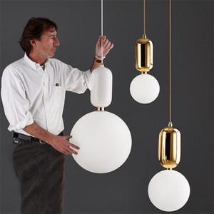 Kreative Nordic einfache LED-Pendelleuchte-Platten-Metall Milch Frosted runde Glasschirme Pendelleuchte für Esszimmer Bar
