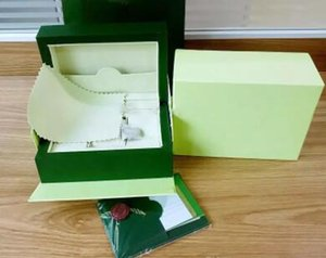 O envio gratuito de relógio de luxo mens para rolex caixa de relógio original outer outer womans relógios caixas homens relógio de pulso caixa verde booklet cartão 880