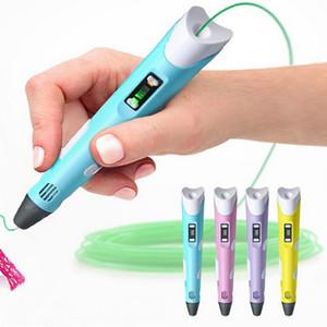 2018 Hot 3D Drawing Pen DIY Impresora 3D Pen Filamento ABS Filamento 1.75mm Arts Impresión 3D Pen LCD Regalo educativo para niños Diseño Dibujo de pintura