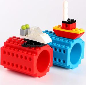 2018 Nouveau Creative Build-on Tasse Portable Drinkware Tasse DIY Lego Building Blocks Tasse À Café Non Accessoires 4 Couleurs