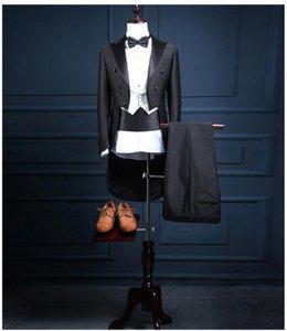 2018 джентльмен длинные мужские фраки свадебные смокинги 4 шт. Комплект Groomsmen Side Vent Лучший формальный мужской костюм мужские костюмы костюмы жениха смокинги