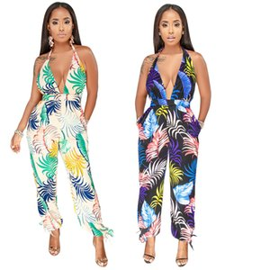 Female Fashion Sexy Jumpsuits 2019 Summer Women Sleeveless Halter Backless Jumpsuit Print Deep V-Neck Full Length Bodycon Rompers Free Ship