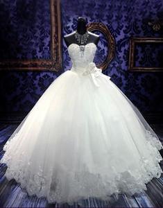 Свадебные платья шикарное бальное платье Милая Бисероплетение Цветы Длина пола Очаровательная свадебное платье