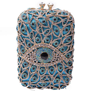 Women Evening Bags Diamonds Small Purse Day Clutches Hand Bags Evil Eye Style Party Wallet Hollow Out Bridal Wedding Bag