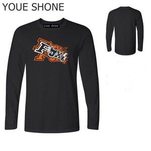 Grundlegende T-Shirts der Männer Lustiger Druck Zwei-Tailed Fox T-Shirt Markendesign Baumwollspitzen-T-Stück Männer Jogge Eignungst-shirt Langhülse Polo T-Shirts