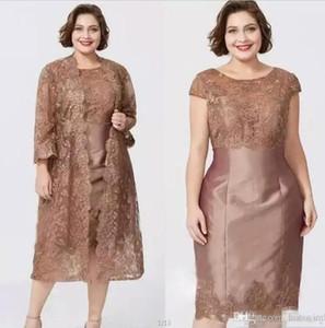Yeni Custom Made Anne Gelin Elbiseler Takım Elbise Dantel Aplike Kılıf Kepçe Boyun Saten Diz Boyu Iki Parçalı Örgün Akşam Kıyafeti BC0279
