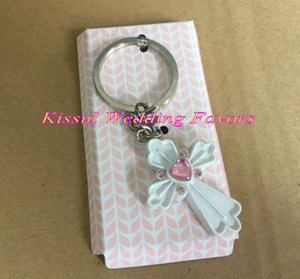 (10 pieces lot) Wedding and Party Favors of Cross design Key Chain Gift For Baby souvenirs and Party guest favors keychain