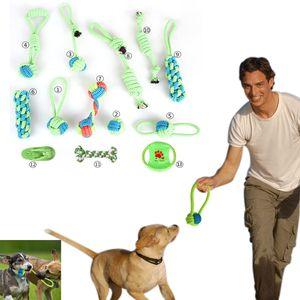 13 pz / lotto Cotone Cane Corda Giocattolo Nodo Cucciolo Chew Dentizione Giocattoli Denti di Pulizia Pet Palying Ball Per Piccoli Cani di taglia Media