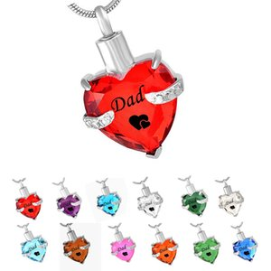 DAD Glass Cremation Jewelry Heart Birthstone Pendant Urn Necklace Ashes Holder Keepsake