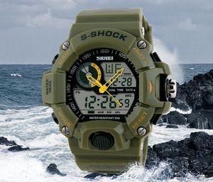 Reloj táctico Hombre Montre S-Shock Reloj digital Deporte al aire libre Tiempo dual Impermeable 50M Reloj cronógrafo de viaje.