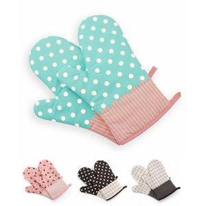 Cotton Printed High Temperature Microwave Oven Gloves, Baking Lovers Bakery Coffee Shop Durable Insulation Anti-scalding Gloves
