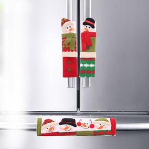 3PCS Christmas Refrigerator Door Handle Covers Forno a microonde Lavastoviglie Elettrodomestici Guanti Maniglia Panno Protector