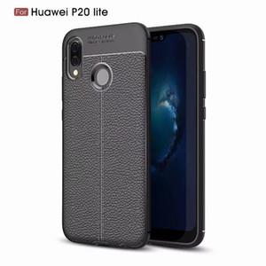 Pour Huawei P20 Lite P10 Plus Profitez 7S P9 Souple TPU Silicone Leechee Case Coloré PU Litchi Grain En Caoutchouc Gel Vetical Line Peaux De Mode Couverture