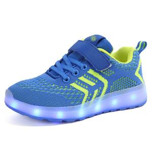 Venda quente Crianças Led Formadores Sapatos Luminescência Tecer Respirável para Meninos Meninas USB Luz Recarregável Peso Crianças Sneakers