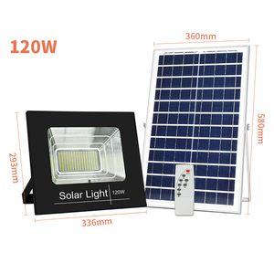Solar-IP67-Flutlicht 120W 100W 50W 30W 20W 10W 80-90LM / W Power Cell Panel Battery Outdoor Wasserdichte Industrielle Lampen Lichter Fernbedienung