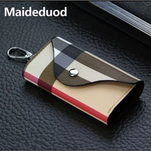 Maideduod Moda de alta calidad Plaid / Stripe Key Wallet Holder Hombres / Mujeres Billetera de cuero Key Case Bag Car Keys Bag