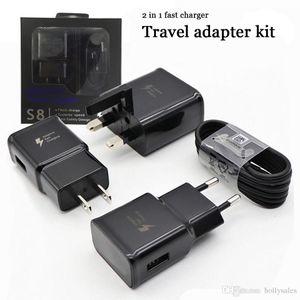 Qualidade 2 em 1 carregador rápido kit 9v 1.67A 5V2A QC 2.0 adaptador de alimentação rápida doca de carregamento EU UK US tomada de parede adaptador carregador com pacote de varejo