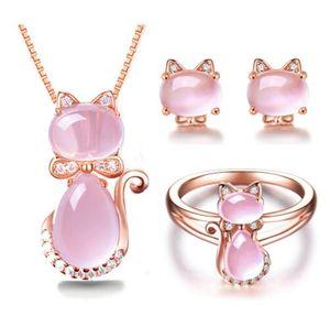 Envío gratis Rose Gold Color Cute Cat Ross Quartz Pink Opal collar de joyas juegos de anillo para mujeres niñas niños regalo gargantilla