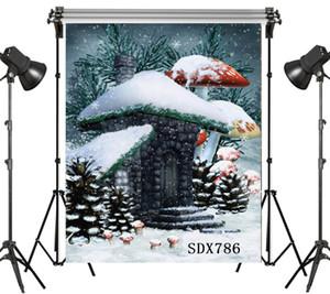 Оптовая полиэстер винил сказка Рождество снег покрыты Эльф дом фоны для фотостудии детская фотография фоны