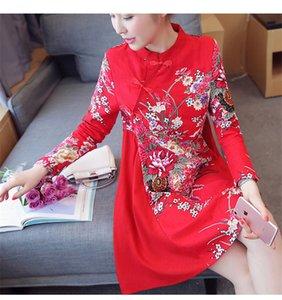 2017 Sonbahar Pamuk Keten Qipao Elbise Geleneksel Çin Halk Tarzı Geliştirilmiş Plaka Toka Baskı A-Line Cheongsams Elbiseler