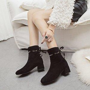 Stivaletti Slip On PHYANIC New Arrival Donna Tacco Quadrato Bootie 2018 Winter Fashion Lettera Lace Up Boots Donna Martin