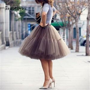 5 Camadas 55 cm Tutu Saia De Tule Vintage Midi Plissado Saias Das Mulheres Lolita Anágua Da Dama De Honra Casamento faldas Mujer saias jupe D1891705