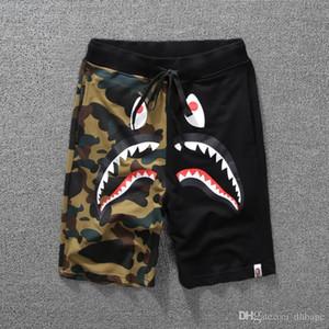 Mais novo Verão dos homens Tubarão Shorts de Algodão Camo Causal Shorts Homens Casual Camuflagem Skate Calças Curtas Soltas Streetwear