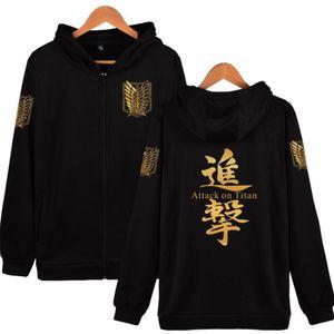 Anime Attack on Titan Hombres Sudaderas con capucha Unisex Cosplay Costume Streetwear Hip Hop Fleece Zipper con capucha Chaqueta prendas de vestir exteriores