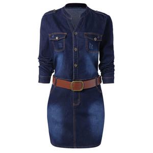 Wipalo Plus Größe 5XL ausgestattet Denim Jean Kleid mit Gürtel Frauen Mantel Stehkragen mit langen Ärmeln Kleider Vestidos kausalen Kleid