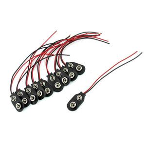 Freeshipping 500 Pcs Snap 9 V (9 Volts) Bateria Clipe Conector Eu Tipo Preto w Cabo