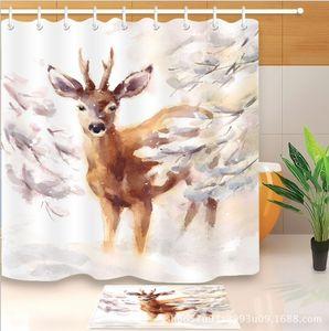 Rideau de douche en orignal Deer Family Snow Winter Design Cornes Tissu Salle de bains Décor Multifonctionnel Rideaux de Douche Avec 12 crochets + tapis de bain