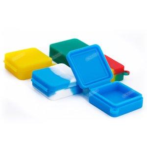 Recipiente de armazenamento 9ml quadrado silicone recipiente antiaderente frasco de silicone recipiente de cera dab Conjoined caixa de silicone com pendurar