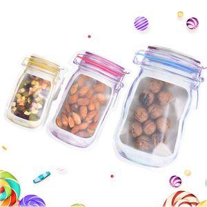 300Pcs / Lot 재사용 식품 저장 지퍼 가방 메이슨 항아리 모양 스낵 밀폐 인감 식품 보호기 누출 방지 가방 주방 주최자 가방