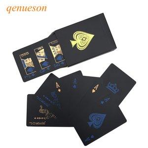 Yeni Kalite Plastik PVC Poker Su geçirmez Siyah Oynama Kartları Altın Dayanıklı Poker Masa Oyunları qenueson Yaratıcı Hediye kaplı Smooth