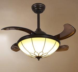 LED Techo Ventiladores invisibles Sincronización Control remoto Luz blanca cálida Lámpara colgante Control remoto