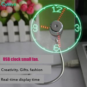 Ventilateur souple en PVC pour ordinateur portable Gadget USB mini-ventilateur Temps flexible Ventilateur d'horloge LED avec lumière LED