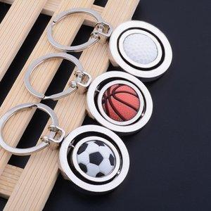 Metal Keychain Fashion Rotating Soccer Football Shape Keyring Zinc Alloy Key Chain Ring for Men car accessories souvenir wedding gifts YSK03
