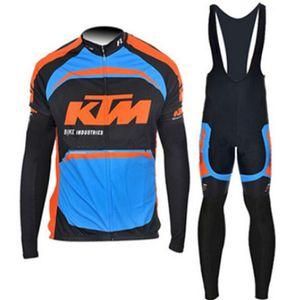 2018 Equipo Pro Ktm Jersey Ciclismo Set Otoño Tour de Francia manga larga Ciclismo Ropa Bicicletas de carretera Bib Pantalones kits 111312Y